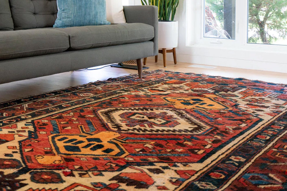 Oriental rug in a brightly lit room